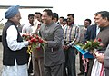 The Prime Minister, Dr. Manmohan Singh being received by the Chief Minister of Assam, Shri Tarun Gogoi on his arrival at Dibrugarh Airport, Assam on January 16, 2007.jpg