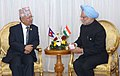 The Prime Minister, Dr. Manmohan Singh meeting the Prime Minister of Nepal, Mr. Madhav Kumar, on the sidelines of the 15th NAM Summit, at Sharm El Sheikh, Egypt, on July 16, 2009.jpg