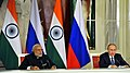 The Prime Minister, Shri Narendra Modi and the President of Russian Federation, Mr. Vladimir Putin at the joint media briefing, in Moscow, Russia on December 24, 2015 (3).jpg
