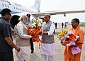 The Prime Minister, Shri Narendra Modi being received by the Union Home Minister, Shri Rajnath Singh and the Uttar Pradesh Chief Minister designate Yogi Adityanath, on his arrival, at Lucknow, Uttar Pradesh on March 19, 2017.jpg