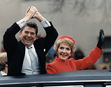 Inauguration parade (January 20, 1981). As Reagan read his inauguration address, 52 U.S. hostages (held by Iran for 444 days) were set free The Reagans waving from the limousine during the Inaugural Parade 1981.jpg