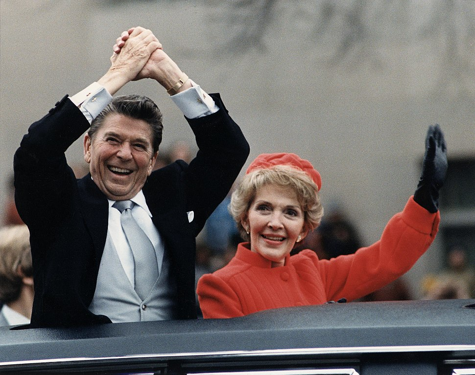 The Reagans waving from the limousine during the Inaugural Parade 1981