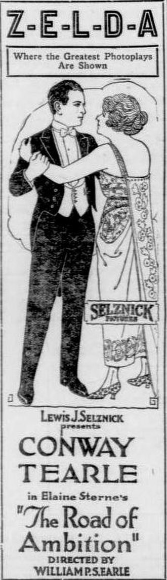 Elaine Sterne Carrington - Newspaper advertisement for the Selznick Pictures film, The Road of Ambition (1920)