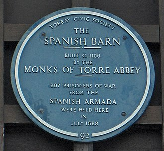A plaque in the Spanish Barn The Spanish Barn plaque, Torquay.jpg