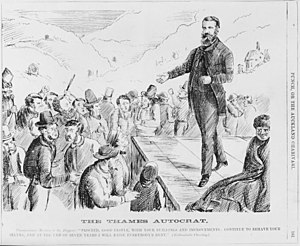 "James Mackay (New Zealand politician, born 1831) - Cartoon of commissioner James Mackay addressing gold miners at Thames entitled, ""The Thames Autocrat."""