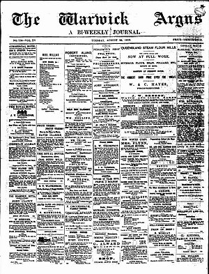 Warwick Argus - Front page of the Warwick Argus, 26 August 1879