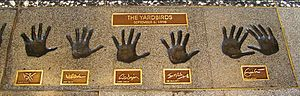 The Yardbirds - Handprints of the living members of the Yardbirds at the Rock and Roll Hall of Fame. Left to right: Page, Beck, Dreja, McCarty, Clapton
