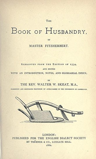 Anthony Fitzherbert - Title page of the 1882 reprint of edition of 1534.