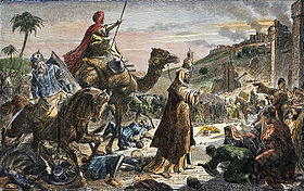 The entrance of Caliph Umar (581?-644) into Jerusalem, 638- colored engraving, 19th century..jpg