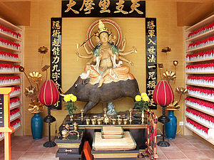 Buddhism in Hong Kong - Statue of the goddess Marici, in an Esoteric Buddhist temple in Hong Kong.