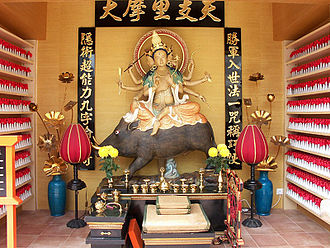 Religion in Hong Kong - Statue of the goddess Marici, in an Esoteric Buddhist temple in Hong Kong.