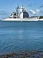 The guided missile cruiser USS Lake Erie (CG 70) returns to its home port March 29, 2013, at Joint Base Pearl Harbor-Hickam, Hawaii 130329-N-WF272-095.jpg