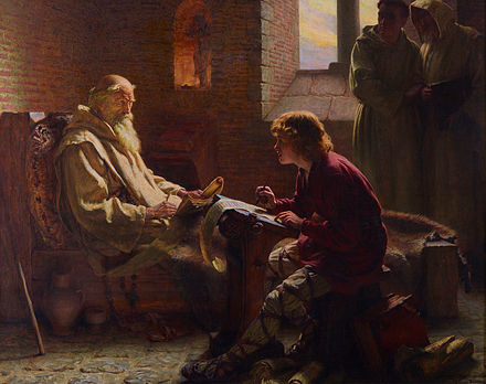 Bede translating the Gospel of John on his deathbed, by James Doyle Penrose, 1902. The last chapter by J. Doyle Penrose (1902).jpg
