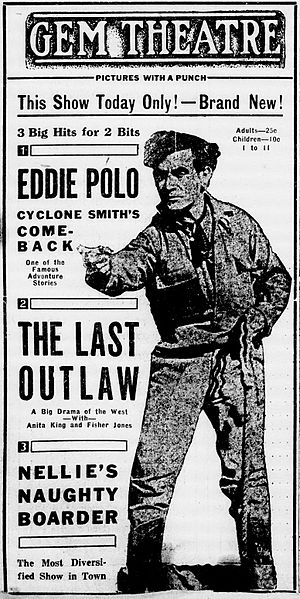 The Last Outlaw (1919 film) - Contemporary newspaper advertisement.