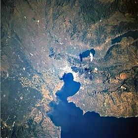 Δορυφορική άποψη του Θερμαϊκού κόλπου και της ευρύτερης περιφέρειας της Θεσσαλονίκης.