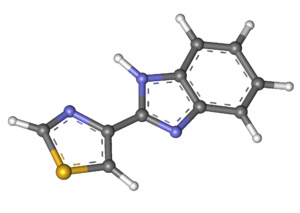 Tiabendazole - Image: Thiabendazole ball and stick
