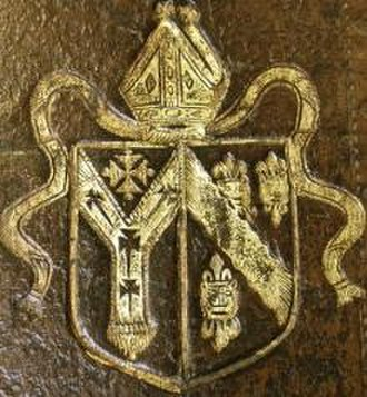 Thomas Tenison - Arms of Thomas Tenison showing arms of the See of Canterbury impaling arms of Tenison (Three leopard's faces jessant-de-lys overall a bend engrailed), imprint on front cover of a Book of Common Prayer, 1686, collection of University of Toronto
