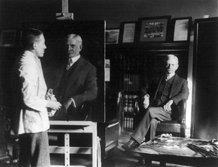 U.S. Vice President Thomas R. Marshall having his portrait painted by an unidentified artist, 1920 Thomas Marshall at a portrait sitting cph.3b17555.jpg