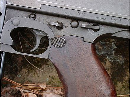 Fire Controls M1928a1Thompson Front lever is selector switch set for full auto Thompson submachine gun Firecontrols.jpg