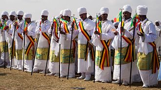 Timkat - Ethiopian Tewahedo priests at a Timkat ceremony in Jan Meda.