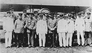 French military mission to Japan (1918–19) - Togo Heihachiro with members of the French Airforce Mission to Japan (1918-1919) in Gifu.
