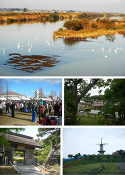 upper:Swans on Hasama Rivermiddle:Japanese number one hatto Festival. Chacha world Ishikoshilower: Korin-ji, Naganuma footopia park