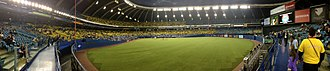 Olympic Stadium (Montreal) - Olympic Stadium panoramic during an MLB preseason game in 2014