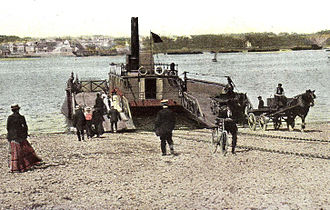 Cornwall Railway - Torpoint Ferry in 1894 looking west; Moorsom planned to use this for conveying passenger trains; note the gradients