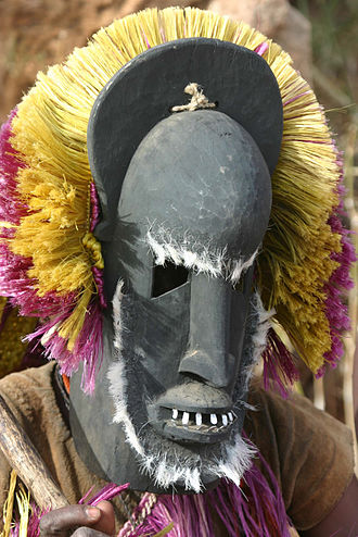 Traditional African masks - Dogon ceremonial mask in use