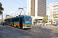Tram in Sofia near Russian monument 053.jpg