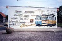Tram terminus mural, Die Thüringerwaldbahn, Tabarz, DDR Aug 1989 (4418175342).jpg