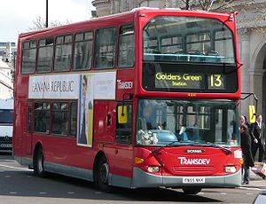 London Buses route 13 - Transdev London Scania OmniDekka in April 2008