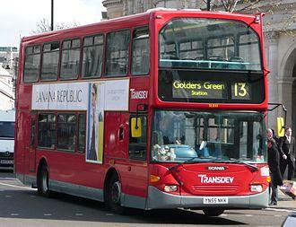 London Buses route 13 - Transdev London Scania OmniDekka in April 2008