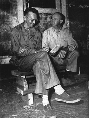 WWII in HD - Richard Tregaskis (left) with Major General Alexander A. Vandegrift (right) in a United States Marine Corps photograph dated 1942.