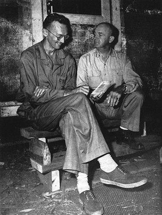 Richard Tregaskis - An official U.S. Marine Corps photograph of Richard Tregaskis (left) with Major General Alexander A. Vandegrift, ca. 1942