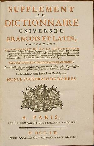 Dictionnaire de Trévoux - Title page of the Supplément au dictionnaire universel françois et latin (Paris, 1752)