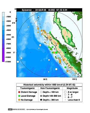 2005 Nias–Simeulue earthquake - Epicentre map from NOAA