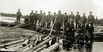 Timber rafting - Raftsmen in Northern Finland in 1930's
