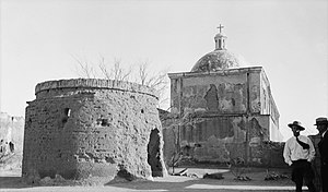 Mission San José de Tumacácori - Mortuary chapel and rear of church, 1937
