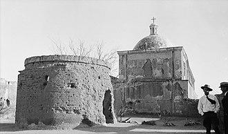 Mission San José de Tumacácori - Mortuary chapel and rear of church, 1937