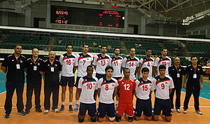 Tunisia men's national volleyball team - Image: Tunisian team at volleyball olympic qualification
