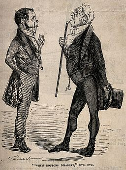Two doctors aloof from one another in disagreement. Wood eng Wellcome V0010907