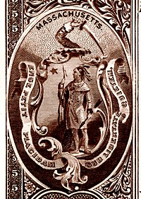 Massachusetts state coat of arms from the reverse of the National Bank Note Series 1882BB