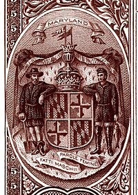 Maryland state coat of arms from the reverse of the National Bank Note Series 1882BB
