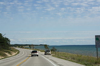 U.S. Route 2 in Michigan - View of Lake Michigan near Brevort; the highway runs along the lake from Naubinway to its eastern terminus at St. Ignace.