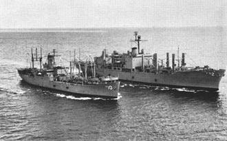 USS Sylvania (AFS-2) - Image: USS Aldebaran (AF 10) and USS Sylvania (AFS 2) underway c 1964