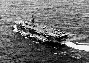 USS Chenango (CVE-28) - USS Chenango underway in 1944.