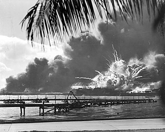 Causes of World War II - Destroyer USS Shaw exploding during the attack on Pearl Harbor, December 7, 1941