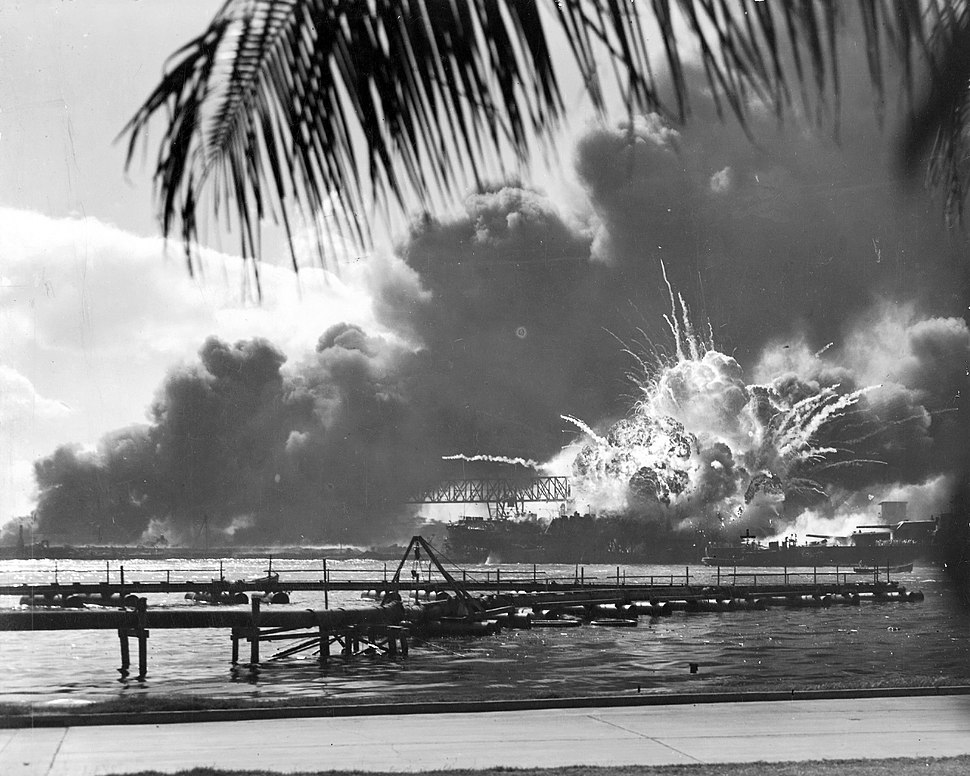 The USS Shaw explodes during the Japanese attack on Pearl Harbor.
