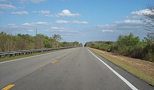 U.S. Route 41 in Florida - US 41 seen towards east in the Big Cypress National Preserve, a few miles north of the Everglades National Park